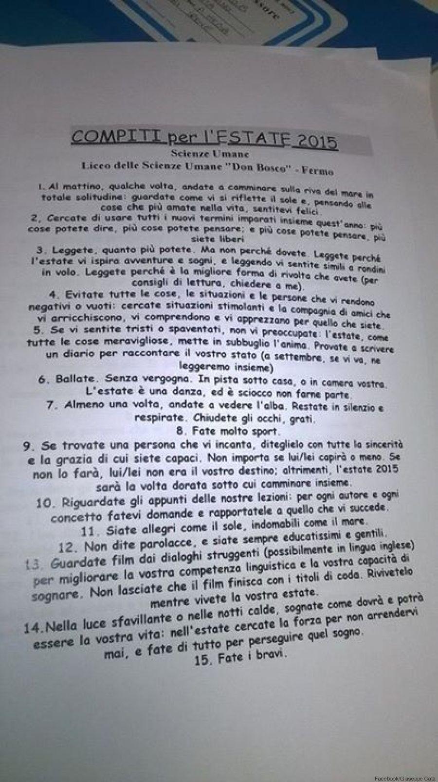 Compiti per le vacanze del professore di Fermo